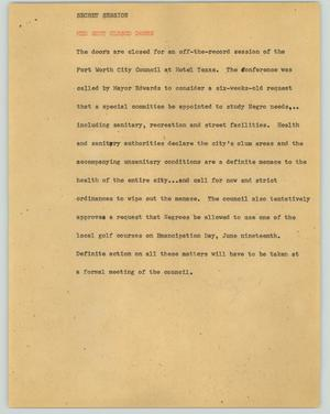 Primary view of object titled '[News Script: Secret session]'.