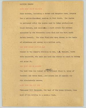 Primary view of object titled '[News Script: Driving champs]'.