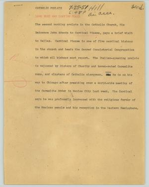 Primary view of object titled '[News Script: Catholic prelate]'.