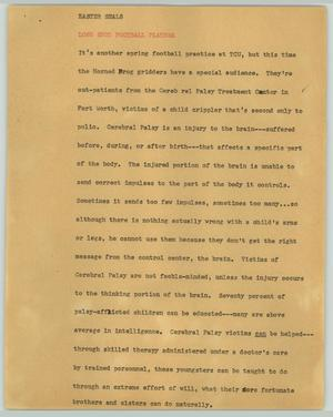 Primary view of object titled '[News Script: Easter seals]'.