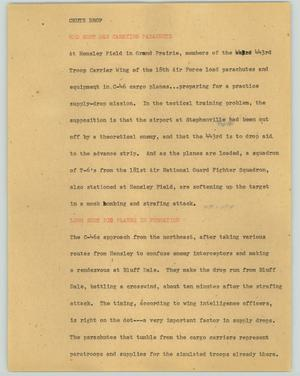 Primary view of object titled '[News Script: Chute drop]'.