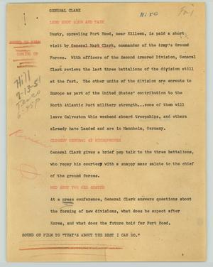 Primary view of object titled '[News Script: General Clark]'.