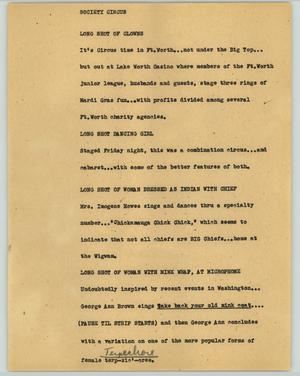 Primary view of object titled '[News Script: Society circus]'.