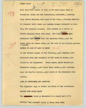Primary view of object titled '[News Script: Texas flood]'.