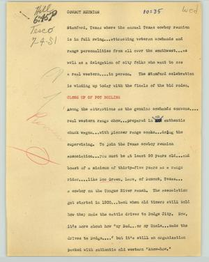 Primary view of object titled '[News Script: Cowboy reunion]'.
