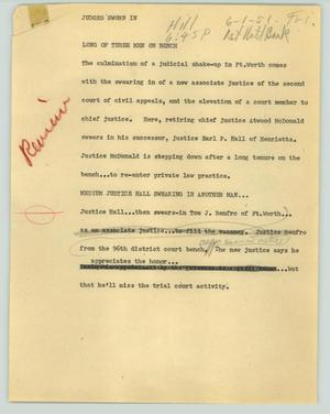 Primary view of object titled '[News Script: Judges sworn in]'.