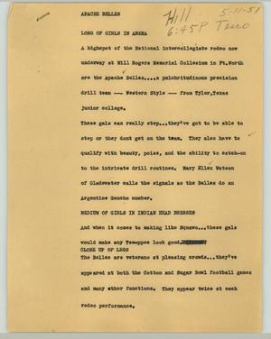 Primary view of object titled '[News Script: Apache Belles]'.