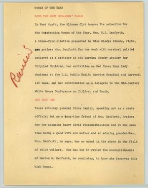 Primary view of object titled '[News Script: Woman of the year]'.
