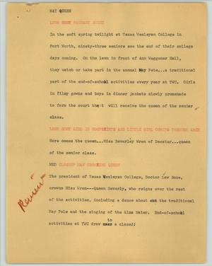 Primary view of object titled '[News Script: May queen]'.