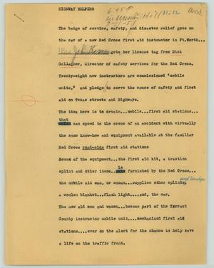 Primary view of object titled '[News Script: Highway helpers]'.