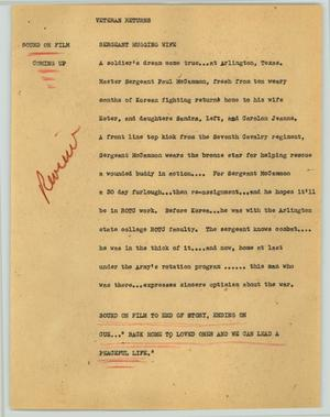 Primary view of object titled '[News Script: Veteran returns]'.