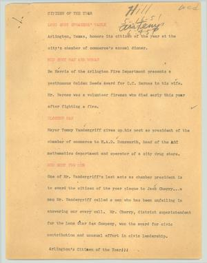 Primary view of object titled '[News Script: Citizen of the year]'.