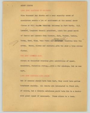 Primary view of object titled '[News Script: Scout circus]'.