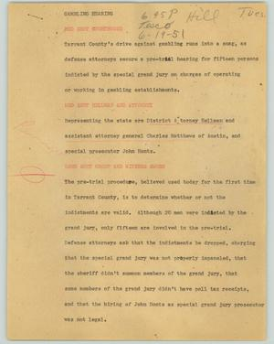 Primary view of object titled '[News Script: Gambling hearing]'.