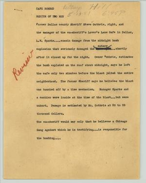 Primary view of object titled '[News Script: Cafe bombed]'.