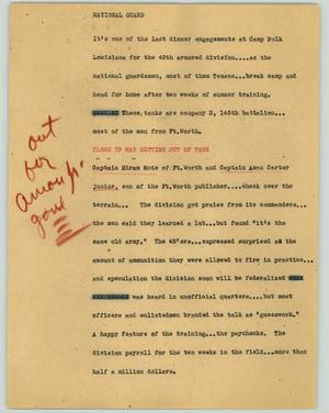 Primary view of object titled '[News Script: National guard]'.