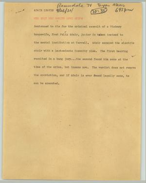 Primary view of object titled '[News Script: Adair leaves]'.
