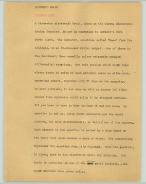 Primary view of object titled '[News Script: Electric brain]'.