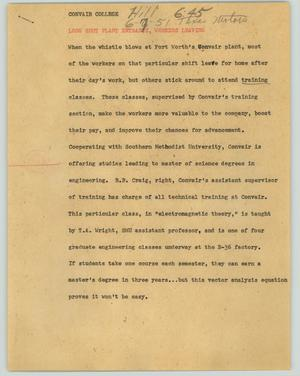 Primary view of object titled '[News Script: Convair College]'.