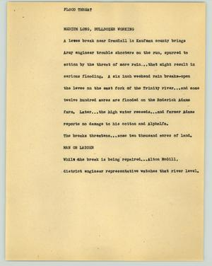 Primary view of object titled '[News Script: Flood threat]'.