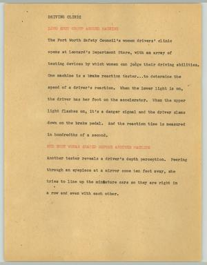 Primary view of object titled '[News Script: Driving clinic]'.