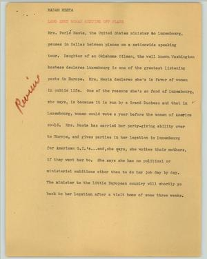 Primary view of object titled '[News Script: Madam Mesta]'.