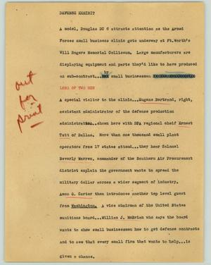 Primary view of object titled '[News Script: Defense exhibit]'.