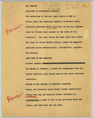 Primary view of object titled '[News Script: Bar meeting]'.