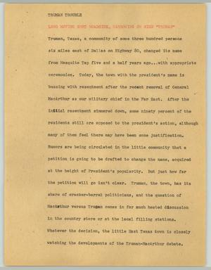 Primary view of [News Script: Truman trouble]
