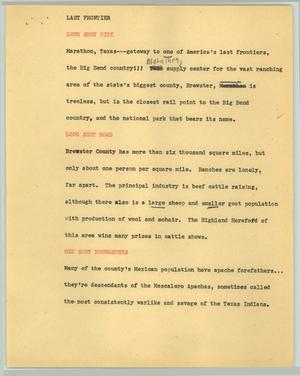 Primary view of object titled '[News Script: Last frontier]'.