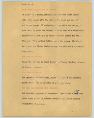 Primary view of object titled '[News Script: Auto Races]'.
