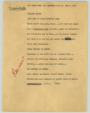 Primary view of object titled '[News Script: College capers]'.