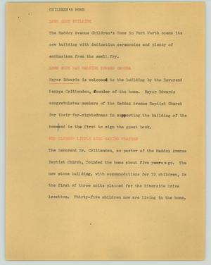Primary view of object titled '[News Script: Children's home]'.