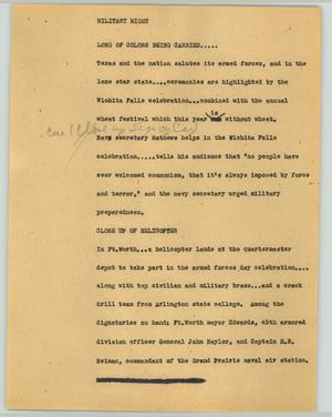 Primary view of object titled '[News Script: Military night]'.