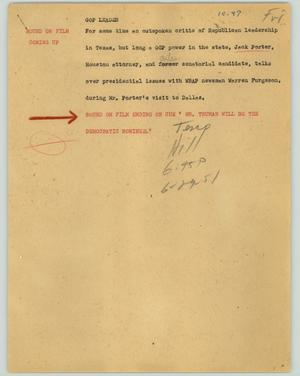 Primary view of object titled '[News Script: GOP leader]'.