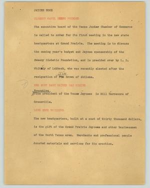 Primary view of object titled '[News Script: Jaycee home]'.