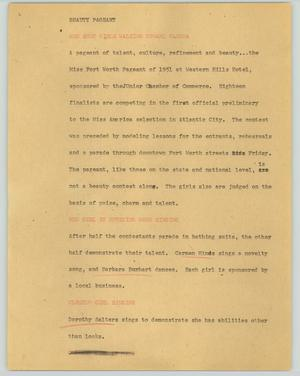 Primary view of object titled '[News Script: Beauty pageant]'.