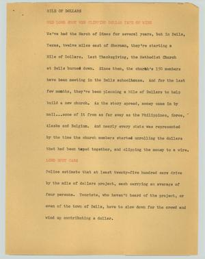 Primary view of object titled '[News Script: Mile of dollars]'.