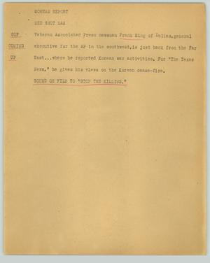 Primary view of object titled '[News Script: Korean report]'.