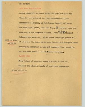 Primary view of object titled '[News Script: FHA meeting]'.