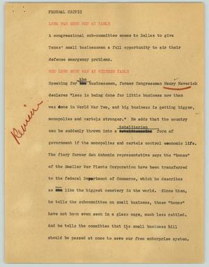 Primary view of object titled '[News Script: Federal critic]'.
