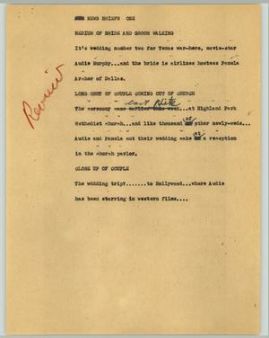 Primary view of object titled '[News Script: War-hero wedding]'.
