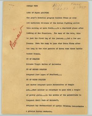 Primary view of object titled '[News Script: Korean vets]'.