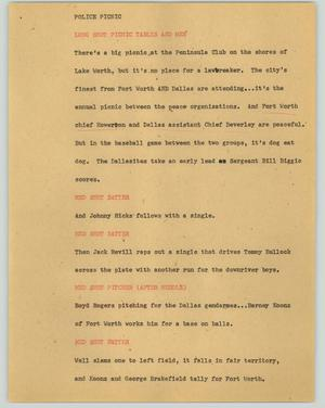 Primary view of object titled '[News Script: Police picnic]'.