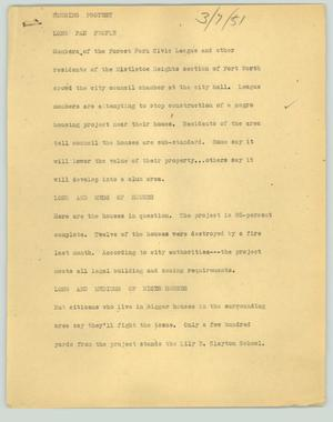 Primary view of object titled '[News Script: Housing protest]'.
