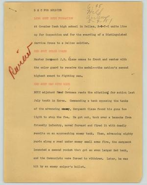 Primary view of object titled '[News Script: D. S. C. for soldier]'.