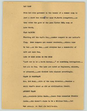 Primary view of object titled '[News Script: Day camp]'.