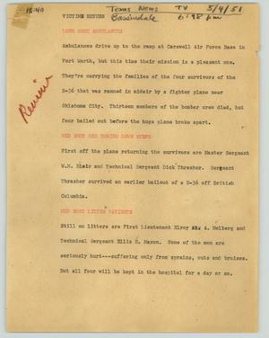 Primary view of object titled '[News Script: Victims return]'.