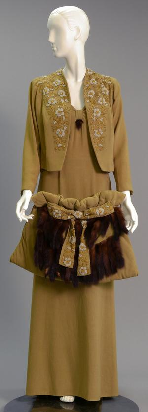 Primary view of object titled 'Ensemble - Dress, Jacket, and Muff'.