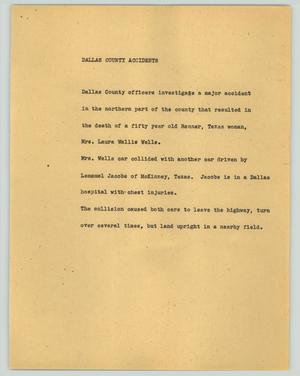 Primary view of object titled '[News Script: Dallas county accidents]'.